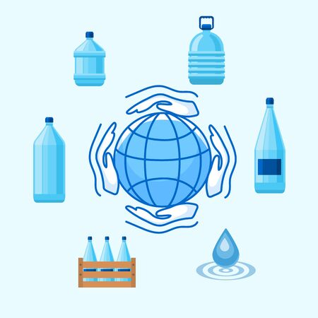 Save water concept vector illustration. World water day. Ecology concept. Infographic eco template design with bottled water, blue drop and planet save icon. Ilustracja