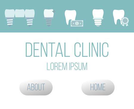 Health dental implant web design vector template flat style. Dental implant clinic concept website. Teeth emblems for orthodontal teeth problems.