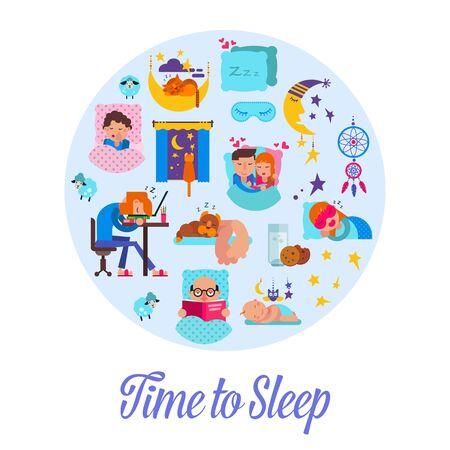 Sleep time flat vector illustration. Cartoon set with sleeping people, alarm clock, pillows and bedroom attributes, sweet dreams and baby asleep.