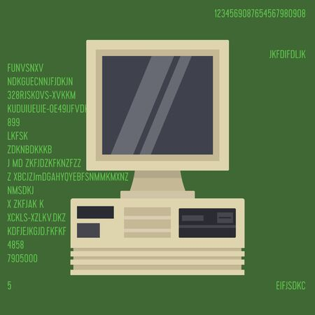 Retro personal desktop computer vector illustration. Old PC with display and on vintage computer program green screen with figures background.