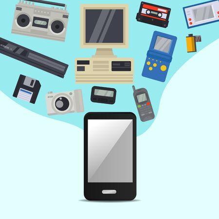 Vintage 90s technology multimedia and communication vector illustration. Nineties multimedia electronic entertainment gadgets with camera, old computer, console and cellphone. Retro.