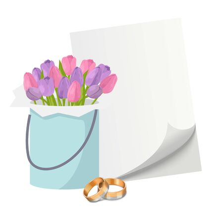 Wedding invitation elements with gold rings, tulips flower bouquet and blank paper vector illustration. Pair of golden wedding rings isolated on white. Ilustracja