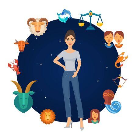 Zodiac signs astrological circle with girl in center vector illustration. Zodiacal round. Astrological horoscope calendar for girls. Virgo girl.