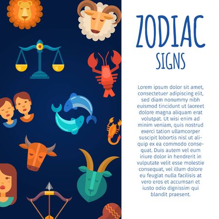 Zodiac signs on dark skies backgrounds vector illustration poster. Zodiacal and astrological horoscope calendar poster template with white text space and typography.