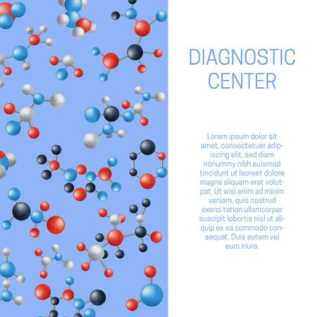 Molecule or atoms vector for diagnostic center poster or flyer. Molecular structure with blue, red and grey connected spherical particles. Chemical medical motion illustration.