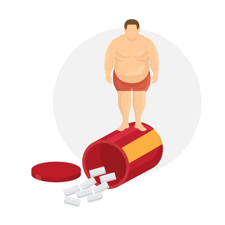 Unhealthy lifestyle and diet pills vector illustration. Fat man body, standing on box of diet pills. Cartoon flat poster of loosing weight alternative