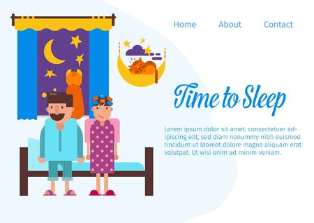 Time to sleep and good night website vector template illustration. Cartoon characters couple of husband and wife going to sleep in bed. Bedroom and cute sleeping accessories.