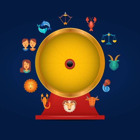 Zodiac signs circle game vector illustration. Zodiacal golden round. Astrological horoscope play calendar game. Aquarius, libra, leo, taurus, cancer, pisces, virgo.