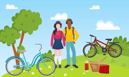 Sport recreation people couple ride bicycles and outdoor picnic vector illustration. Mixed race sportsmen couple relaxing after bike ride background. Bicycles, picnic basket