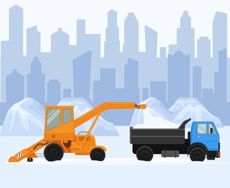 Snow removal in big city vector illustration. Two machine work and clean street, road. Snow remove blower loading pile of snow to lorry. 向量圖像