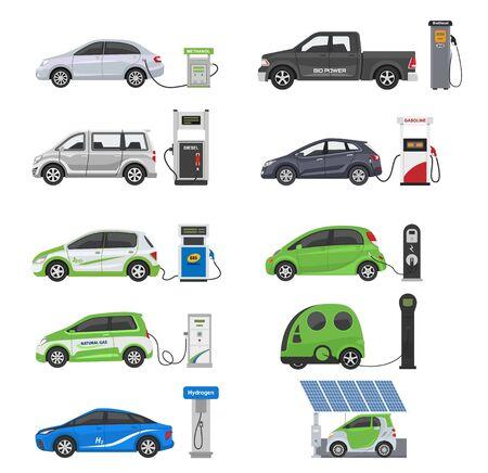 燃料代替車両ベクトルチーム-車またはガストラック、ソーラーバンまたはガソリン発電所イラスト一式のバイオエタノールと水素電気自動車、白い背景に分離