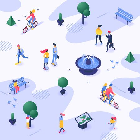 City park vector urban people walking strolling outdoor in town illustration background summer public cityscape and healthy lifestyle activity of man woman on bicycle skateboard backdrop wallpaper 向量圖像