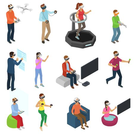 Virtual reality vector people in vr character gamer with vr glasses and person playing in virtually game illustration isometric set of man woman gaming in gadget isolated on white background Vektorové ilustrace