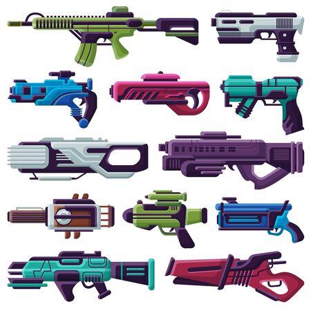 Arma, vector, spacegun, blaster, láser, arma, futurista, arma de fuego, y, raygun, de, extraterrestres, en, espacio, ilustración, conjunto, de, niño, pistolas, aislado, blanco, plano de fondo