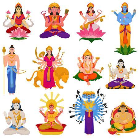 인도 신 힌두교 신의 여신 캐릭터와 힌두교 신과 같은 우상 가네샤 인도 그림 세트 흰색 배경에 고립 된 경건한 종교 벡터 (일러스트)