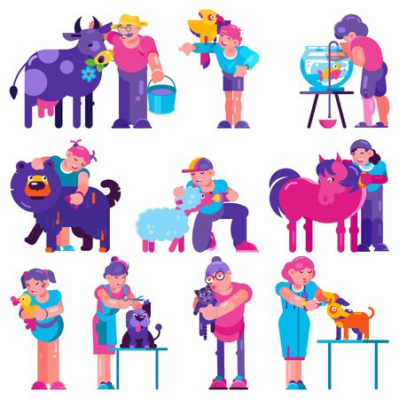 Animal care vector people brushing feeding dog puppy illustration of man woman and animalistic characters washing domestic animals sheep horse isolated on white background