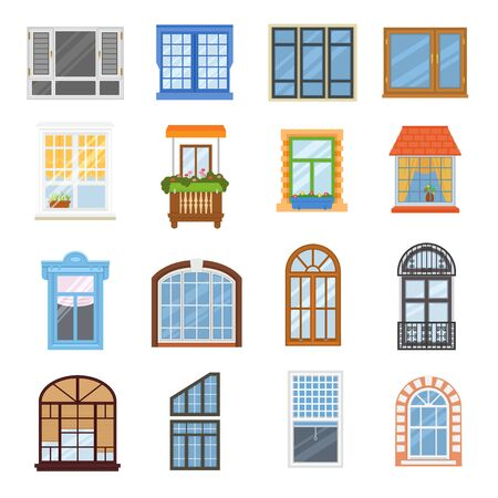 Window vector modern house view glass frame arch illustration set of windowing design windowpane arching decoration of architecture isolated on white background