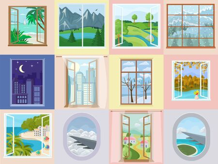 Window vector home interior design with beautiful view on mountain sea beach vacation illustration. Set of house wooden frame decoration in apartment backdrop airplane illuminator background. Illustration