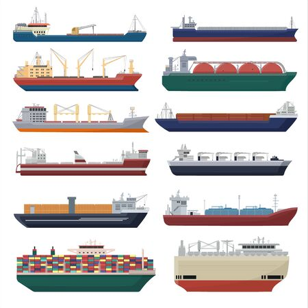 Cargo ship vector shipping transportation export container illustration set of industrial business freight transport shipment isolated on white background Ilustração