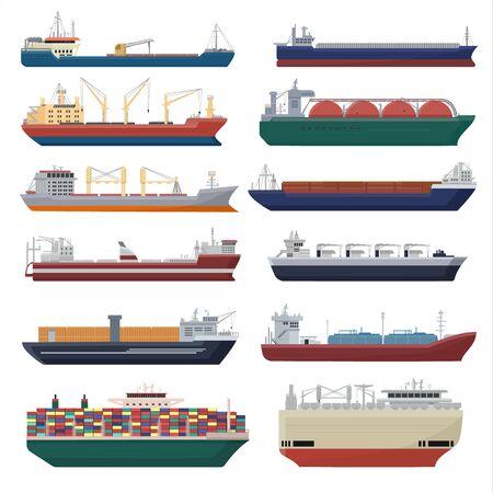 Statek towarowy wektor wysyłka transport eksport kontener ilustracja zestaw przemysłowy transport towarowy transport przesyłki na białym tle