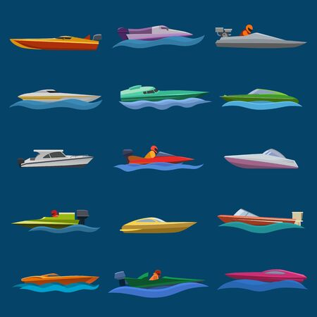 Boat vector speed motorboat yacht traveling in ocean illustration nautical. Set of summer vacation on motorized boat speedboat vessel transportation by sea waves isolated on background. 向量圖像