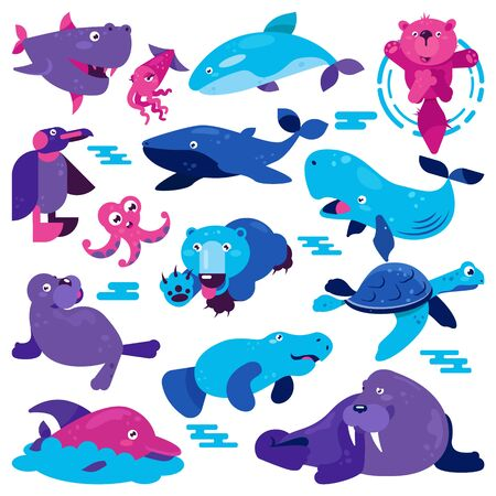 Ocean animal cartoon  character whale penguin turtle and bear swimming underwater illustration. Set of aquatic octopus dolphin creature in wildlife isolated on white background.