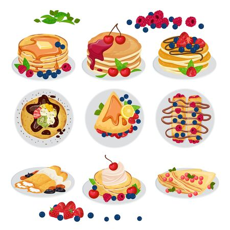 Pancake vector breakfast sweet homemade food dessert and delicious caked snack with syrop honey on plate illustration. Sset of morning pancakes raspberry blackberry isolated on white background.