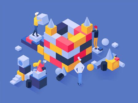 People build vector man builder character work in team on construction business challenge with blocks illustration set of teamwork strategy solution idea of businessman, isolated on background.