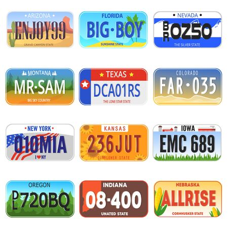 Car number auto plate license registration symbol illustration transportation set of automobile metal transport vehicle sign isolated on white background.