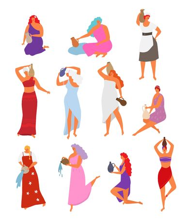Woman with jug vector beautiful girl with long hair pouring water from jugful. Illustration set of female characters, dancing women in ethnic dress with pitcher isolated on white background Ilustração Vetorial