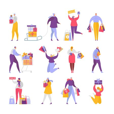 People buy gifts vector woman, man characters buying gifts on Christmas sale. Illustration set of happy customers jump holding presents, purchases and bags isolated on white background