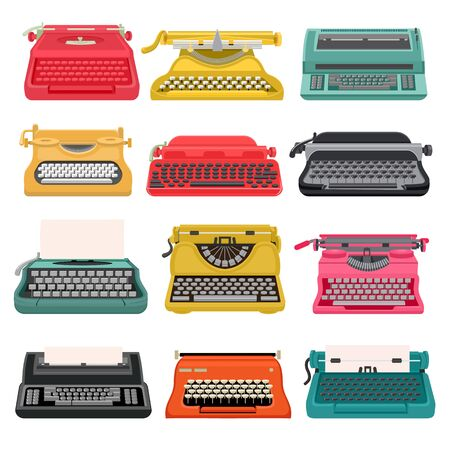 Typewriter vector old vintage keyboard machine, retro type-writer for writing and typing. Illustration set of antique print seccretary object isolated on white background