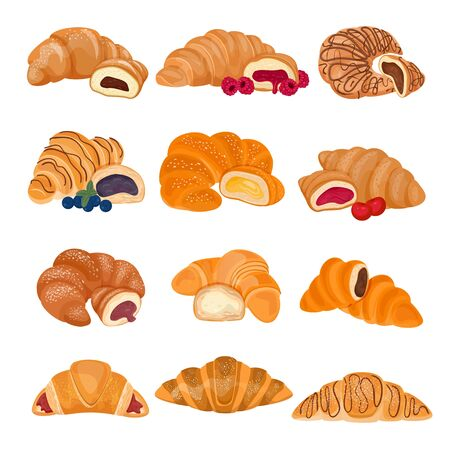 Croissant vector french food sweet dessert pastry bun for breakfast illustration bakery set of tasty bread bagel delicious snack isolated on white background Ilustración de vector