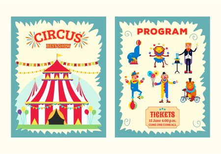 Big top circus entertainment show brochure, program, ticket vector illustration. Artists performers magician, clowns, wild animals monkey, bear and seal.