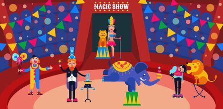 Circus show vector illustration. Circus artists performers at arena trainer, magician with hares, assistant, clown. Wild animals lion, tiger, elephant. Illusztráció