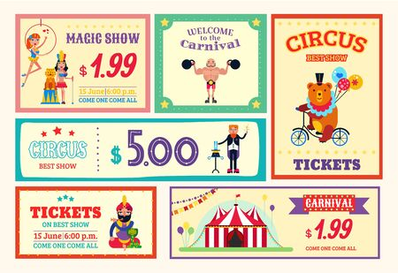 Circus amusement banner poster card tickets set vector illustration. Different circus performances carnival, magic show, trained wild animals, aerialists and athletes. Stock fotó - 136622934