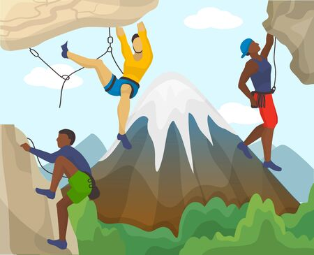 Three equipped people men alpinists climb rock cliff flat vector illustration. Mountaineering extreme activity sport concept. High snow mountain peak background. Ilustração