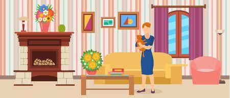 Interior de la habitación. Mujer sosteniendo gato de pie a casa en la ilustración de vector plano. Moderna y acogedora sala de estar limpia y acogedora con sofá, mesa, sillón, chimenea.