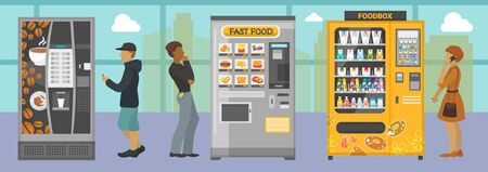 Vending machines with different food and drinks vector illustration. People choosing various snacks beverages coffee crackers cookie hamburger from indoors automats.