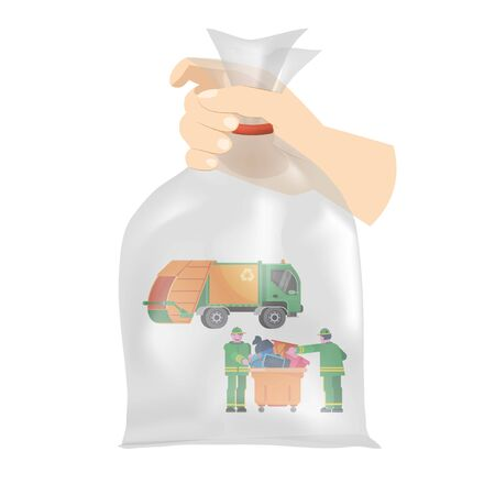 Hand holding big plastic bag with small garbage truck, dumpster and two scavengers inside, vector illustration. Waste collection and recycling concept.