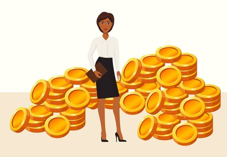 Young beautiful business woman or office worker standing among gold coins vector illustration isolated flat style. Money earning, profit, income, investment.