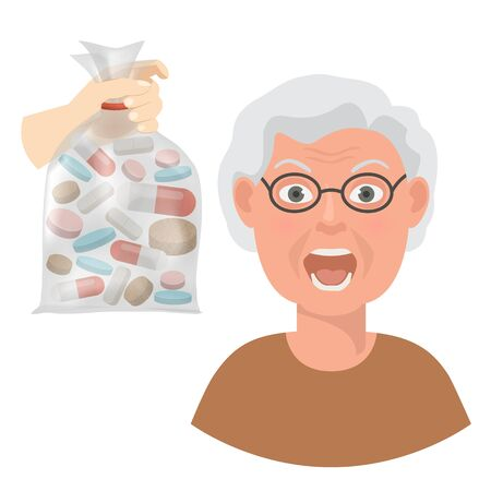 Pills for elderly patient vector illustration. Hand of doctor or pharmacist holds bag with tablets for grandmother. Senior people pensioners medicine healthcare concept.