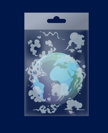 Earth globe with evaporation in polythene bag vector illustration flat style. Greenhouse effect, global warming catastrophe and no plastic campaign concept. World environment day.