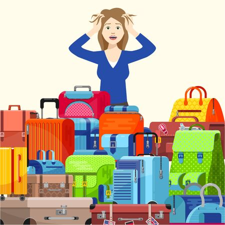 Shocked stressed young woman girl traveller have problems with lot of suitcases too many things to take vector illustration flat style. Packing luggage bags for trip overweight, overfilled.