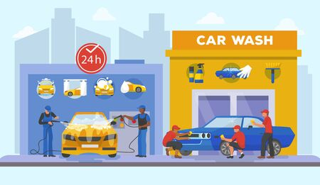 Car wash center full service day and night flat style vector illustration. Men in uniform washing auto with soapy water, other men coworkers polishing car until it shine.