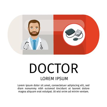 Doctor cardiologist cartoon vector illustration isolated. Medical heart care concept with pill, tonometer and stethoscope. Web banner, website, poster.