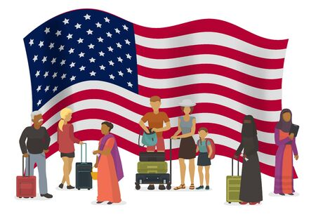 United States of America emigration vector illustration. Different races and nationalities people with suitcases go to USA. American flag in background. Stock Vector - 136622967