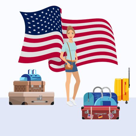 United States of America emigration vector illustration. Young woman girl emigrate to USA standing near suitcases ready to go. American flag in background.