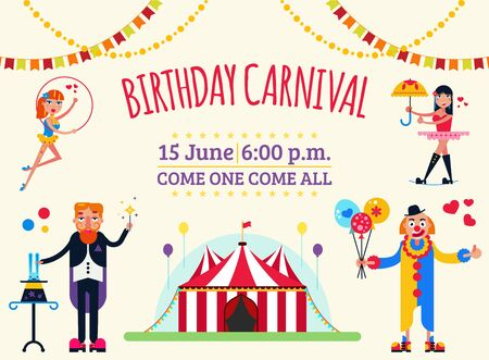 Big top circus show invitation poster vector illustration. Artists performers magician, clown, gymnasts aerialists. Festive circus marquee entry with flags, balloons.