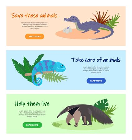 Save disappearing wild animals concept vector illustration. Website pages design banners set. Protecting nature, wildlife, fauna. Anteater, crocodile, chameleon animals.